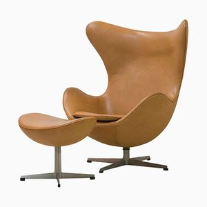 Egg Chair and Ottoman in Cognac Leather by Arne Jacobsen, 1964