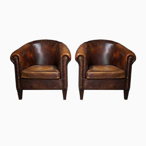 Vintage Dutch Cognac Leather Club Chairs, 1970s, Set of 2