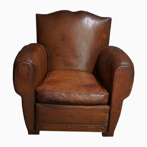 French Moustache Back Cognac Leather Club Chair, 1940s