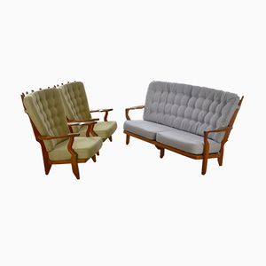 Mid-Century Sofa & Armchair by Guillerme et Chambron, 1960s