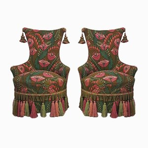 Vintage French Fringed & Tasselled Chairs in Vibrant Poppy Print, Set of 2