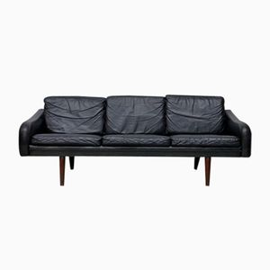 Vintage Danish Sofa in Black Leather, 1960s