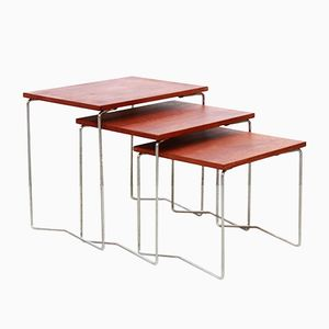 Vintage Minimalist Teak Side Nesting Tables from Brabantia