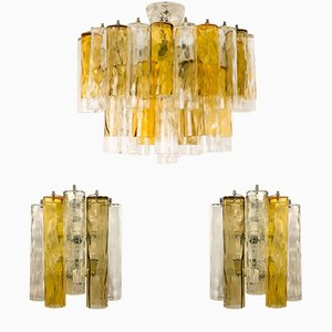 2 Large Vintage Wall Lights and Chandelier from Barovier & Toso