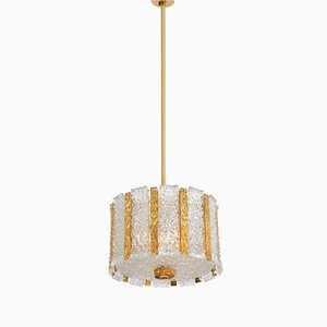 Lampada a sospensione in vetro satinato e bronzo placcato in oro di J.T. Kalmar, Austria, anni '60