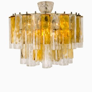 Large Ocher & Clear Glass Tube Chandelier by Barovier & Toso