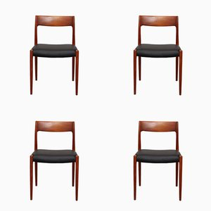 Mid-Century Model 77 Teak Dining Chairs by Niels Otto Møller for J.L. Møllers, Set of 4