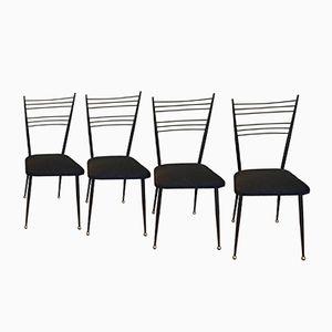 Black Metallic Chairs, 1950s, Set of 4