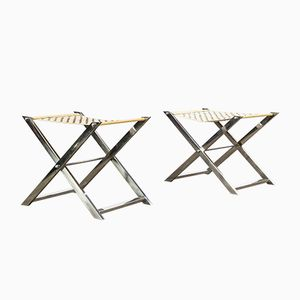 Vintage Metal & Leather Foldable Racks, Set of 2