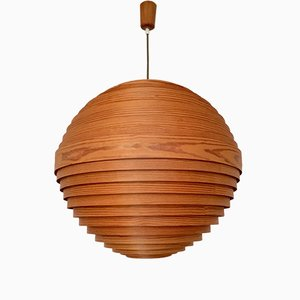 Large Wooden Pendant Lamp, 1960s