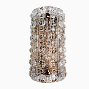 Swedish Modern Bubble Textured Crystal Wall Light by Carl Fagerlund for Orrefors, 1950s