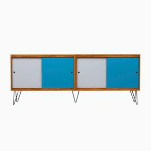 Large Walnut Sideboard with Colored Wall Doors, 1960s