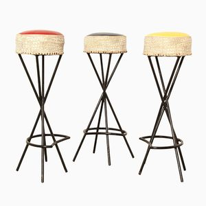 French Bar Stools, 1960s, Set of 3