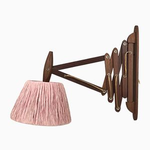 Vintage Danish Teak Scissor Lamp