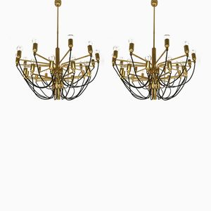 German Brass Chandelier from Staff, 1970s, Set of 2