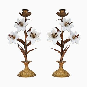 Antique White Lilly Candlesticks, Set of 2