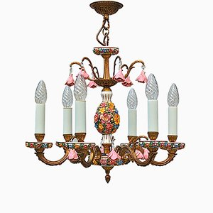Mid-Century Brass and Porcelain Flower Chandelier