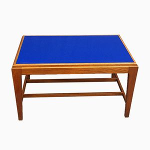 Coffee Table in Teak with Blue Glass Top, 1970s