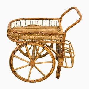 Chariot de Bar Vintage en Bambou