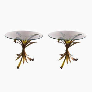 Mid-Century Hollywood Regency Gilt Metal Side Tables, 1960s, Set of 2