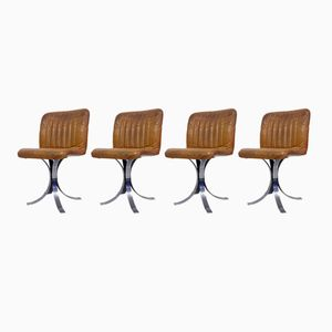 French Leather and Chrome Dining Chairs from Flox, 1970s, Set of 4