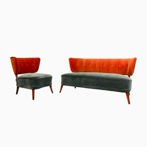 Vintage Cocktail Sessel und Sofa aus Samt, 1950er, 2er Set