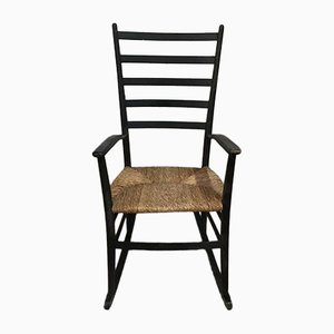 Rocking Chair Scandinave Vintage Noire avec Assise en Paille