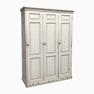 Vintage White Wooden 3 Door School Locker