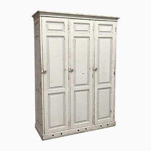 Vintage White Wooden 3 Door School Locker
