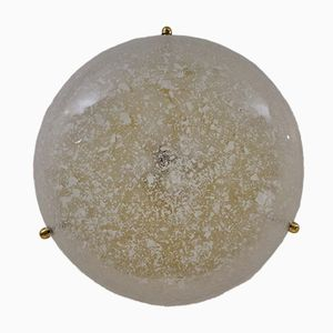 Brass and Glass Flush Mount by Hillebrand, 1970s