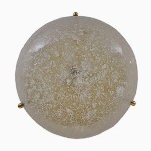 Decken-oder Wandmontierte Lampe aus Messing und Glas von Hillebrand, 1970er