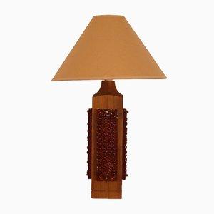 Große Tischlampe aus Teak und Glas, 1960er