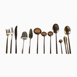 Full Set Bronze Cutlery Flatware by Prince Sigvard Bernadotte for Scanline, 1960s, Set of 109