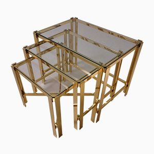French Gilt Nesting Tables by Pierre Vandel, 1970s