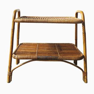 Vintage Bamboo and Cane Table, 1950s
