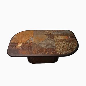 Slate and Bronze Brutalist Coffee Table, 1980s