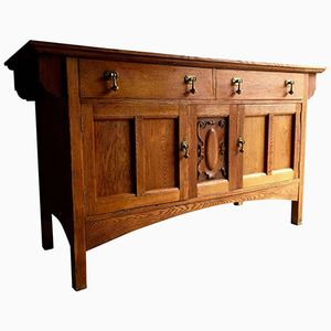 Edwardian Arts & Crafts English Sideboard in Golden Oak
