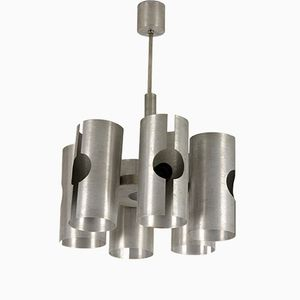 Vintage Aluminium Ceiling Lamp from Polam, 1970s