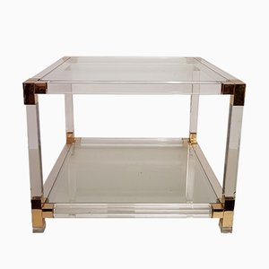 Lucite Brass Square Side Table, 1980s
