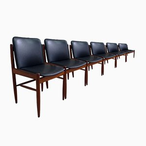 Teak Chairs, 1960s, Set of 6