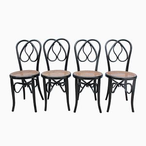 Chairs in Black Lacquered Wood, Set of 4