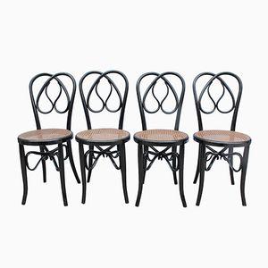 Stühle aus Scharz Lackiertem Holz, 4er Set