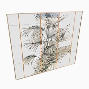 Wall Mirror with Palm Tree Serigraph, 1970s