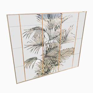 Wandspiegel mit Palmen-Serigraphie, 1970er