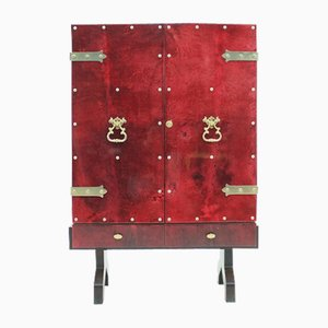 Illuminated Bar Cabinet in Red Goatskin by Aldo Tura, 1960s