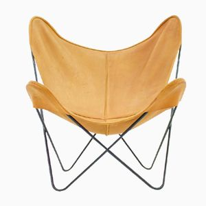 Butterfly Chair in Cognac Leather by Jorge Hardoy for Knoll Int., 1950s