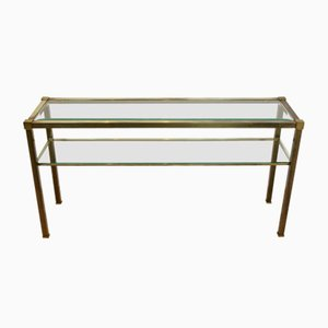 Vintage French Two-Tiered Console with Patinated Brass and Facet Glass Top