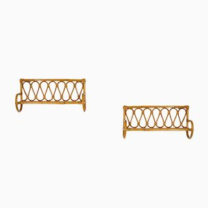 Rattan Wall Mounted Shelves, 1960s, Set of 2