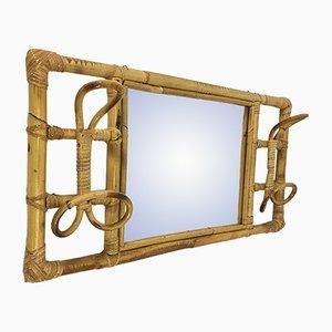 Attaccapanni vintage in vimini con specchio