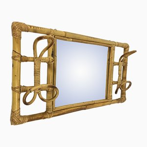 Vintage Rattan Coat Rack with Mirror